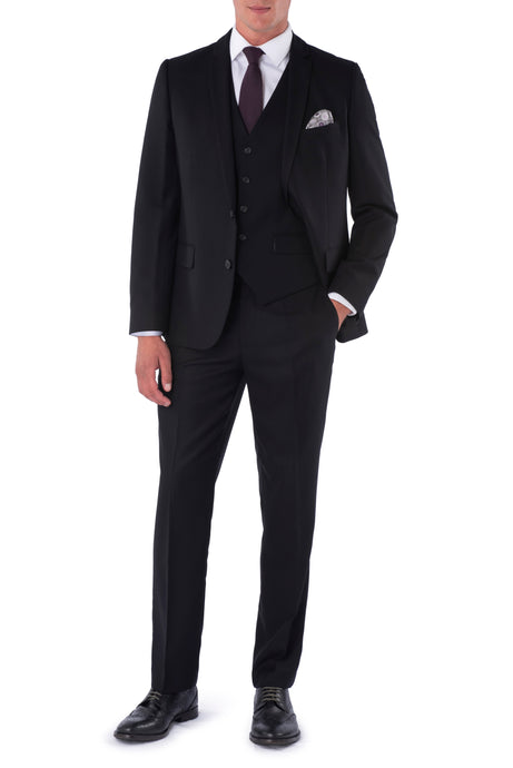 CALEB Black Three Piece Slim Fit Suit