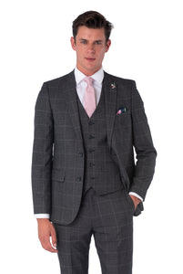 ALBIE Grey Check Three Piece Suit