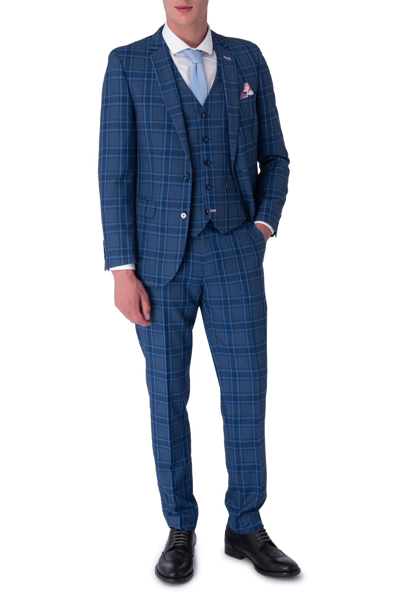 HENRY Blue Check Three Piece Slim Fit Suit
