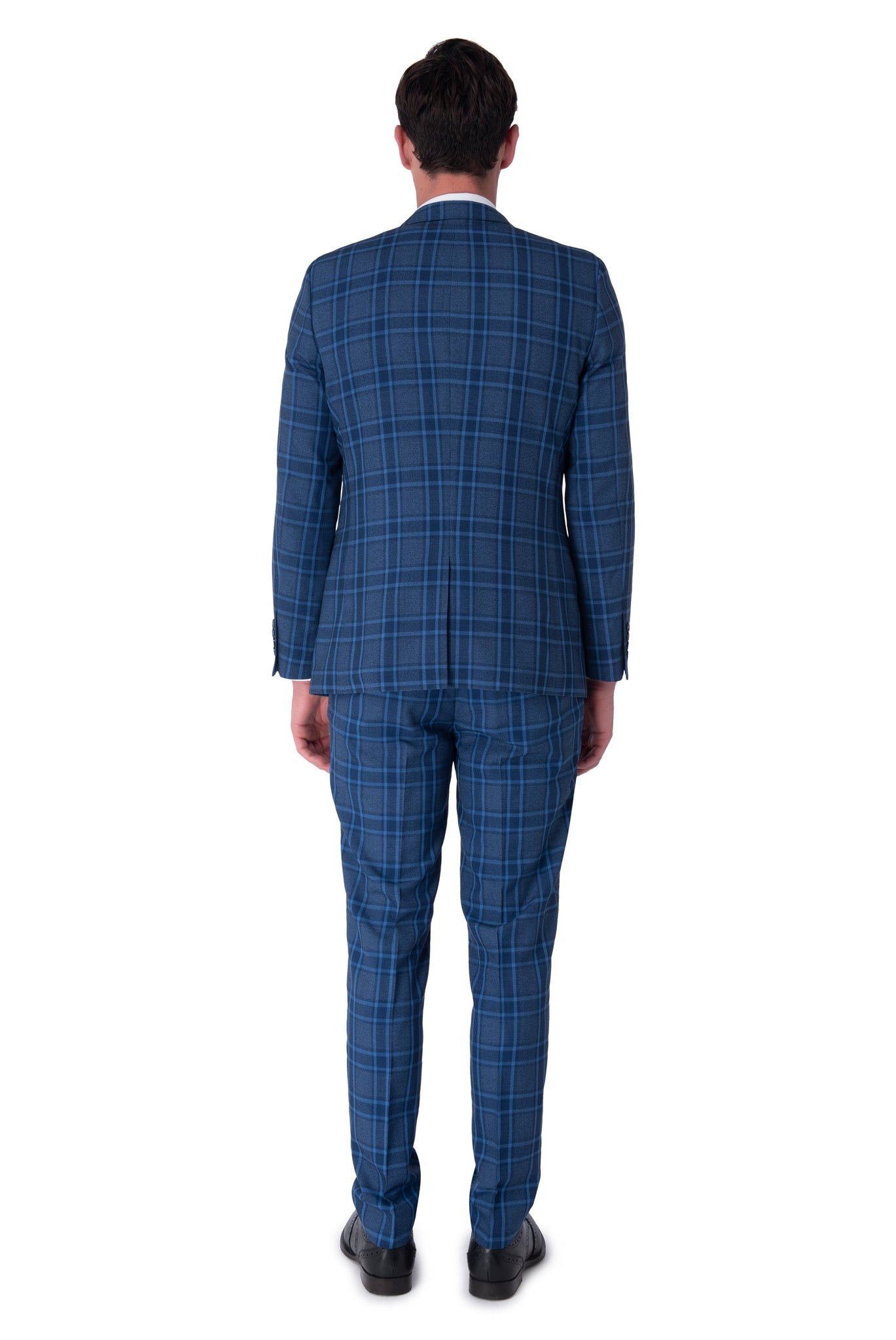 Back of HENRY Blue Check Three Piece Slim Fit Suit
