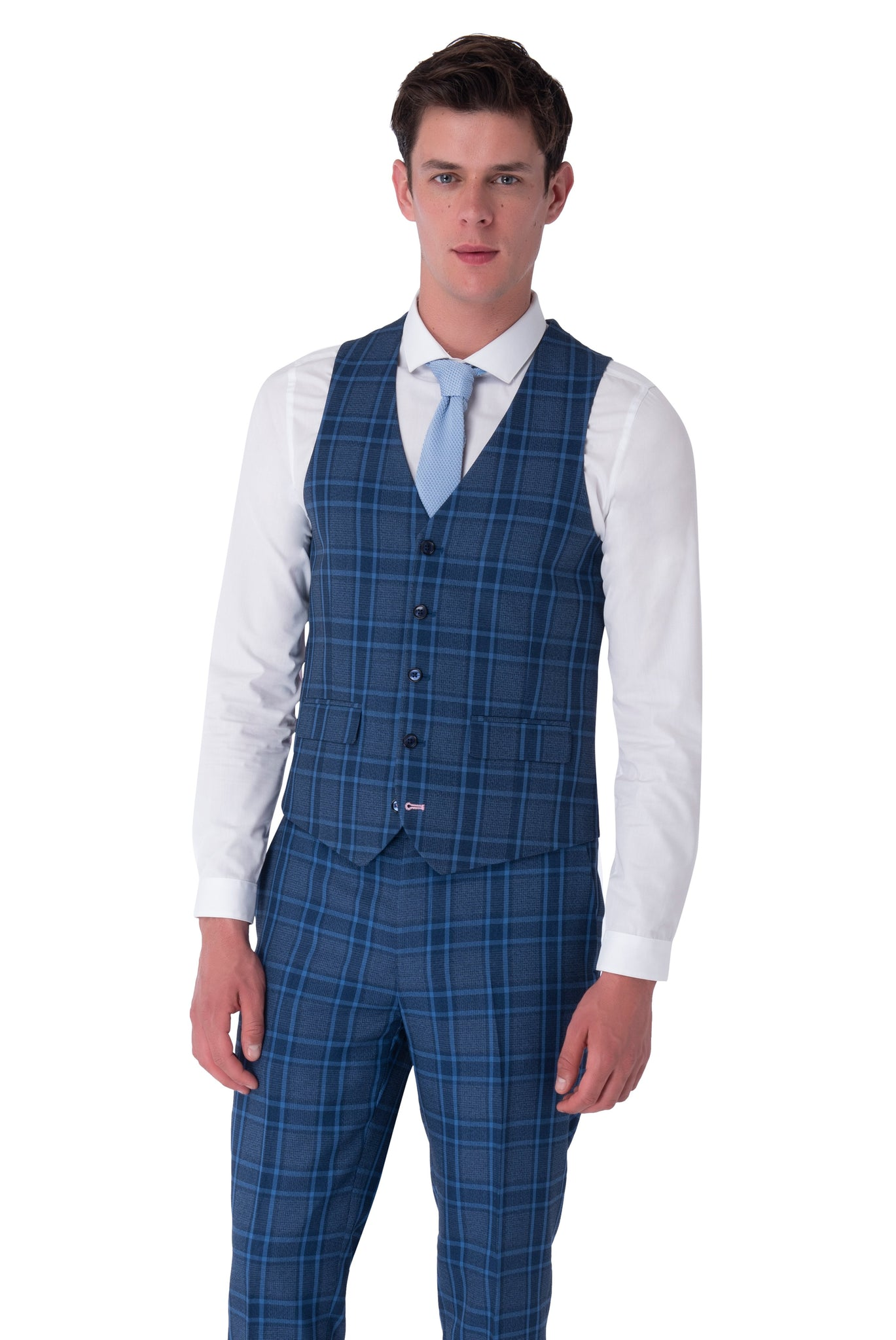 Waistcoat of HENRY Blue Check Three Piece Slim Fit Suit