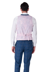 Back of Waistcoat of HENRY Blue Check Three Piece Slim Fit Suit