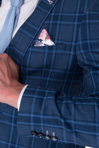 Lapel & cuff of HENRY Blue Check Three Piece Slim Fit Suit