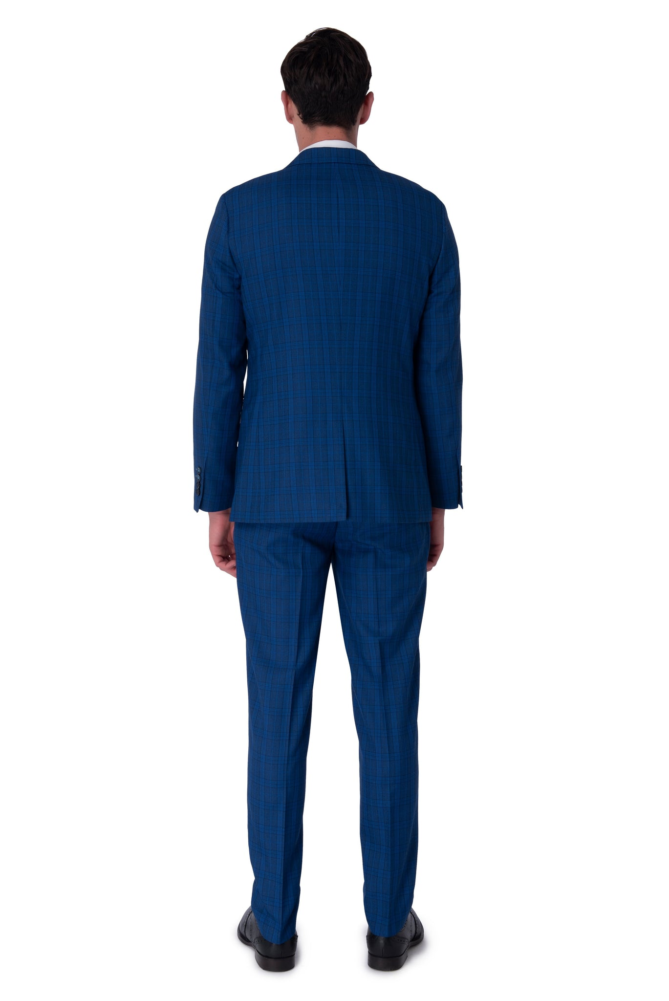 Back of JACK Royal Blue Check Three Piece Suit