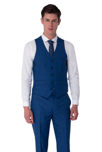 Waistcoat of JACK Royal Blue Check Three Piece Suit