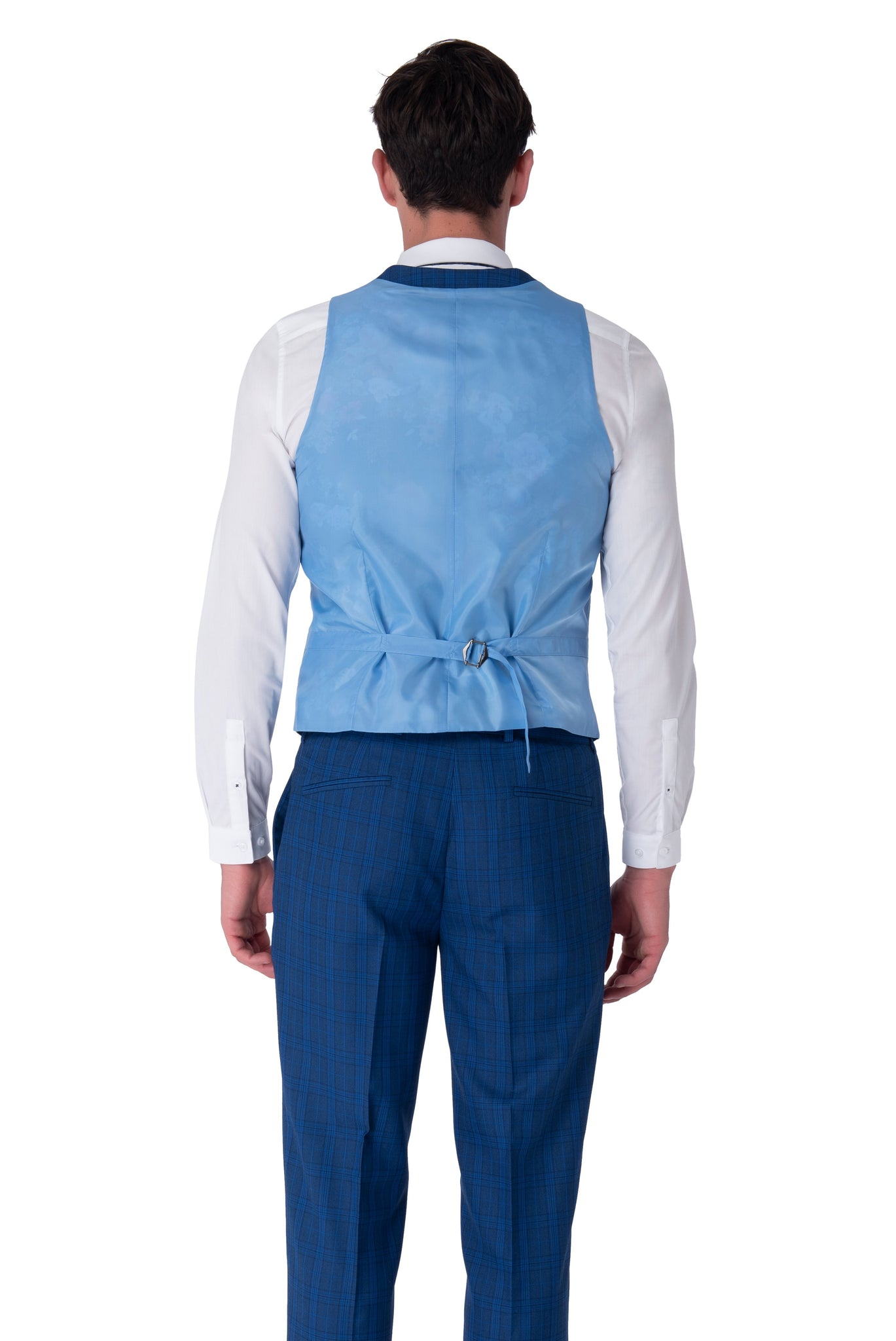 Back of waistcoat of JACK Royal Blue Check Three Piece Suit