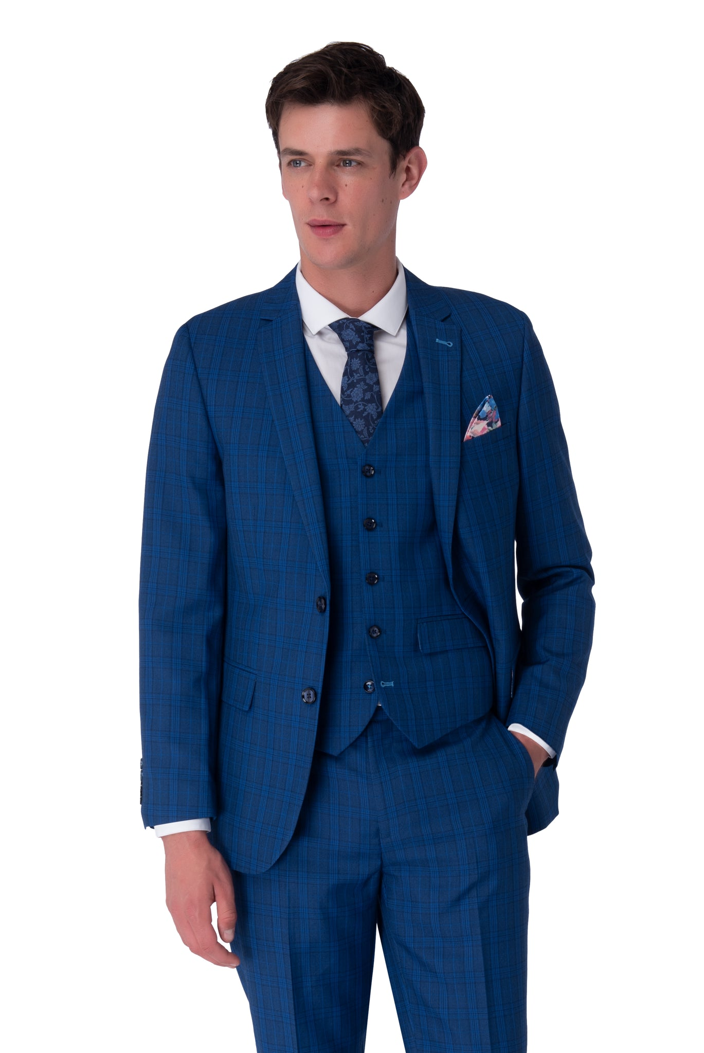 JACK Royal Blue Check Three Piece Suit