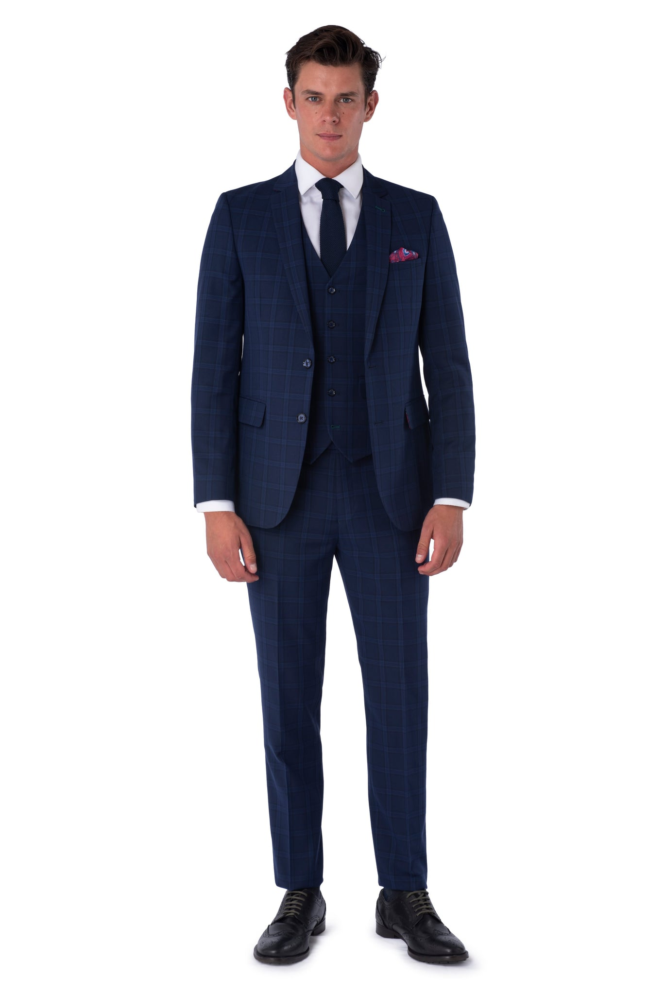 Front of JACOB Navy Blue Check Three Piece Slim Fit Suit