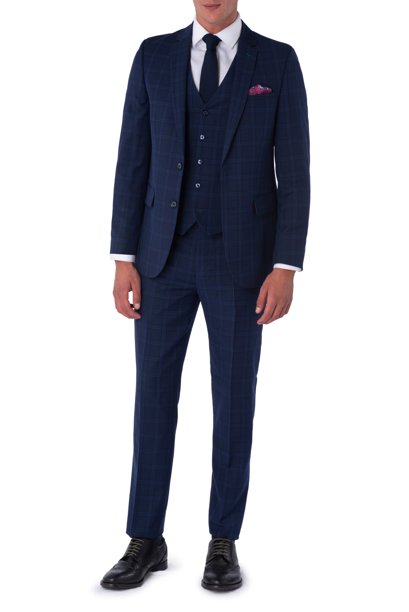 JACOB Navy Blue Check Three Piece Suit