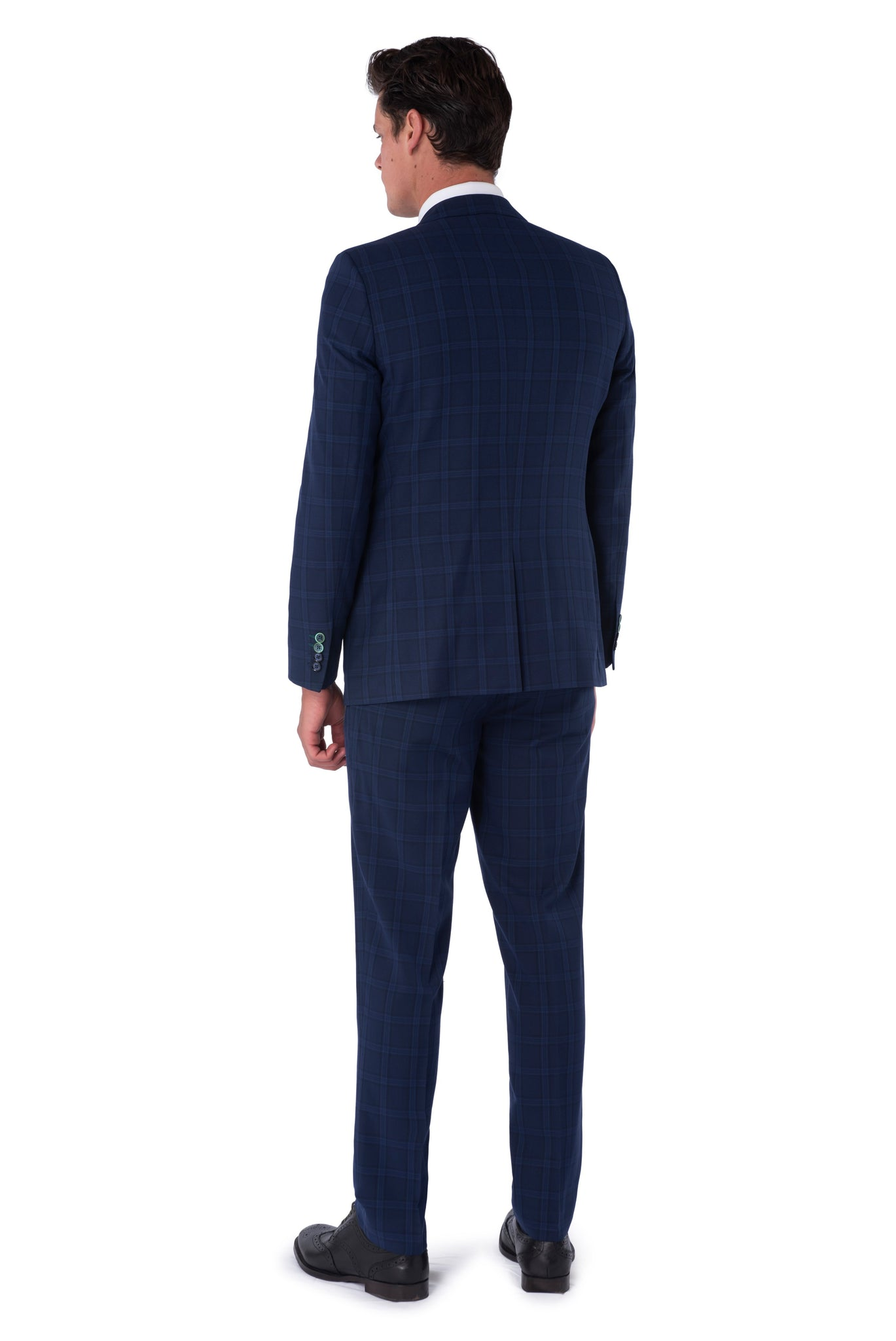 Back of JACOB Navy Blue Check Three Piece Slim Fit Suit