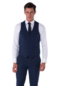 Waistcoat of JACOB Navy Blue Check Three Piece Slim Fit Suit