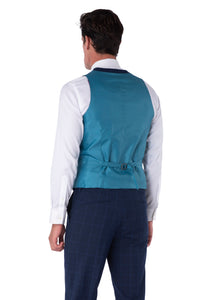 Back of waistcoat of JACOB Navy Blue Check Three Piece Slim Fit Suit