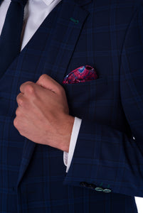 Lapel & cuff of JACOB Navy Blue Check Three Piece Slim Fit Suit
