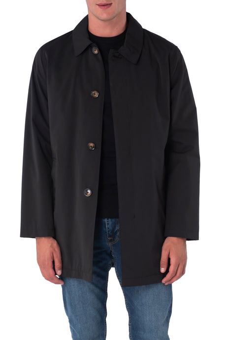 HARRISON Black Single Breasted Trench Coat