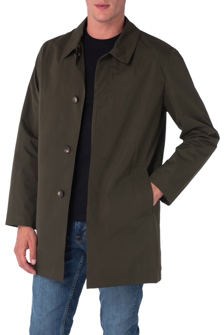 HARRISON Khaki Single Breasted Trench Coat
