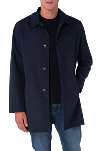 HARRISON Navy Single Breasted Trench Coat