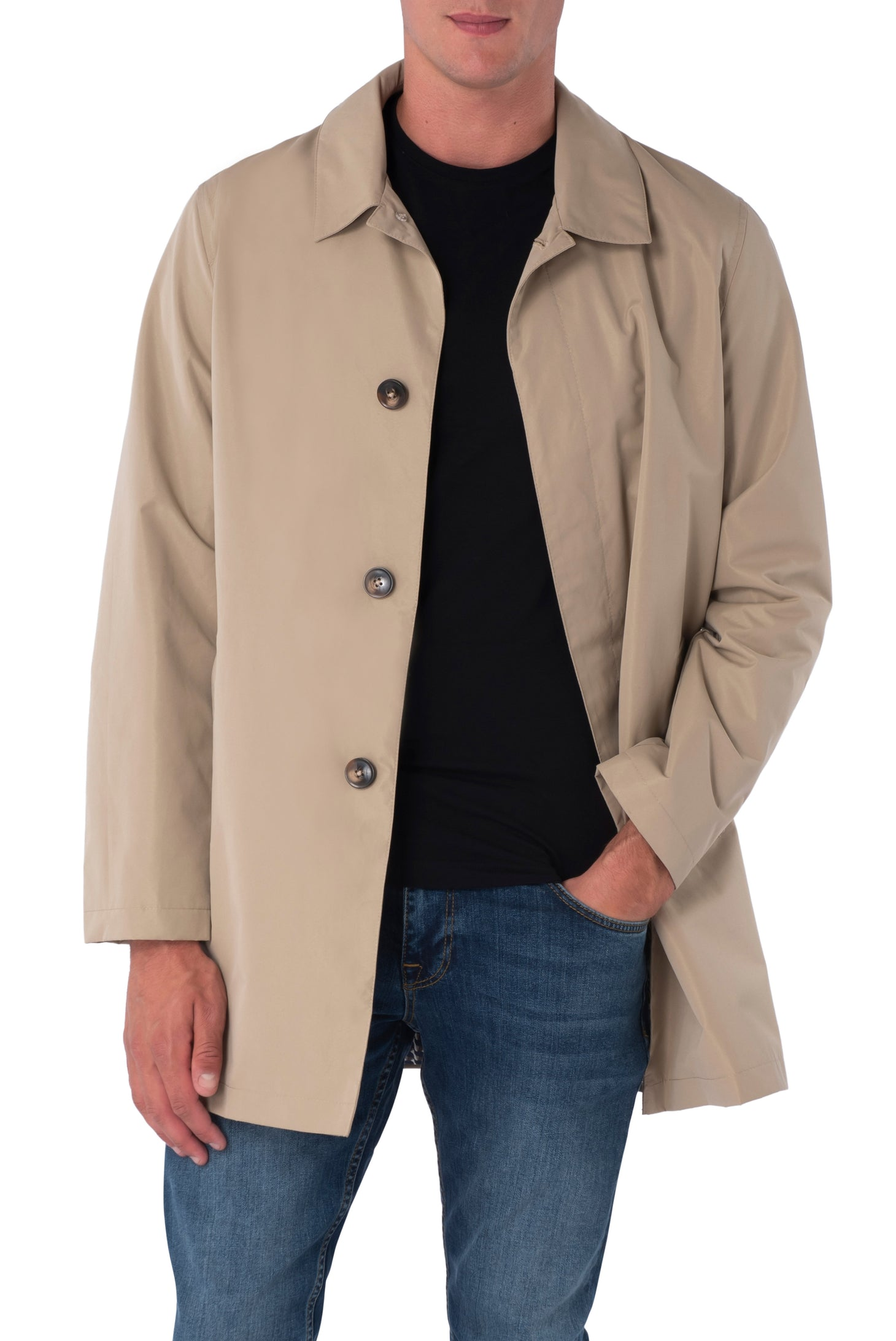 HARRISON Stone Single Breasted Trench Coat
