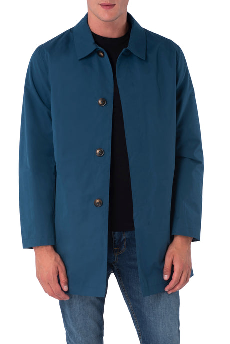 HARRISON Teal Single Breasted Trench Coat