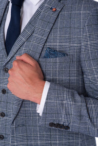 Lapel & cuff of JOSEPH Navy & Black Check Wool Suit