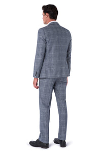 Back of JOSEPH Navy & Black Check Wool Suit