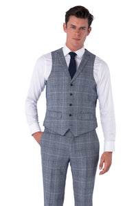 Waistcoat of JOSEPH Navy & Black Check Wool Suit