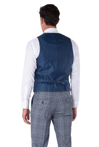 Back of waistcoat of JOSEPH Navy & Black Check Wool Suit