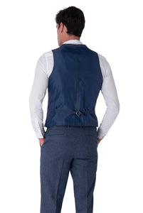 Back of waistcoat of MATTHEW Blue Slim Fit Wool Suit