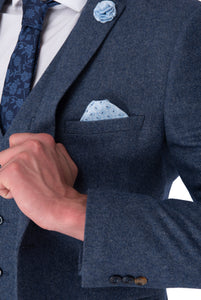 Lapel & cuff of MATTHEW Blue Slim Fit Wool Suit