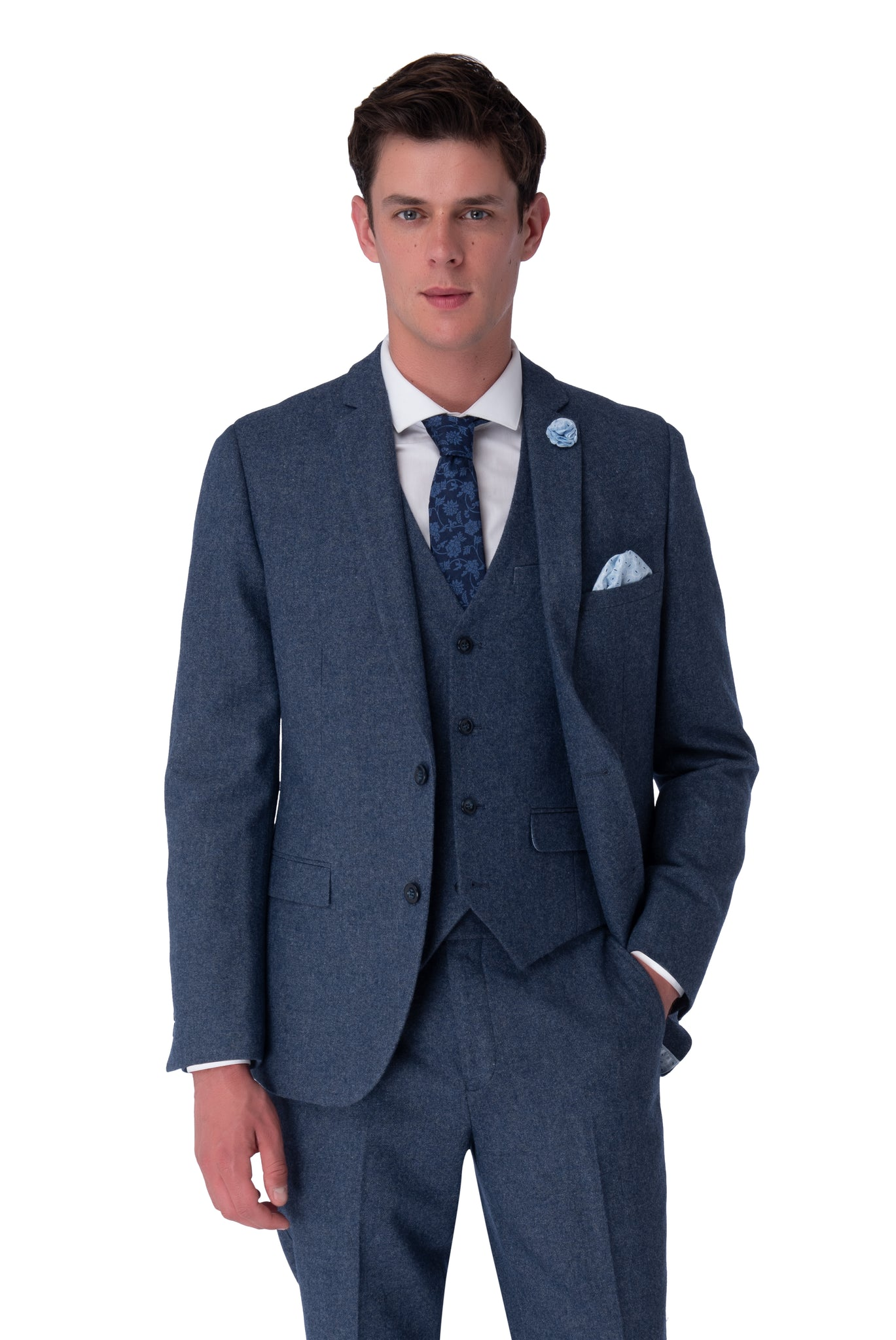 MATTHEW Blue Slim Fit Wool Suit