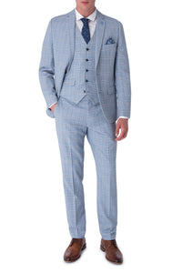 NATHAN Blue Check Three Piece Slim Fit Suit