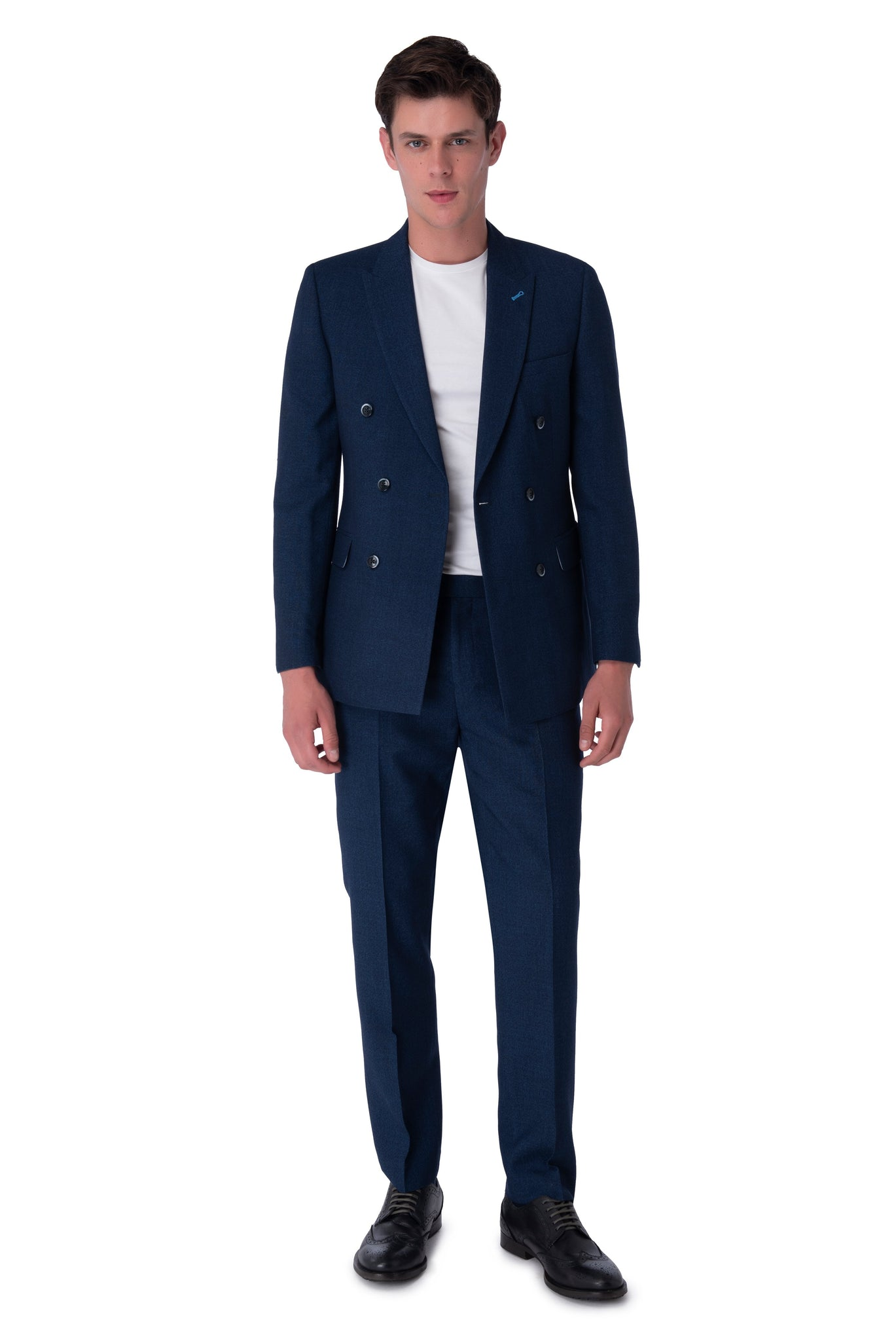 Front of Oliver Navy Double Breasted Suit