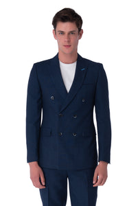 OLIVER Navy Melange Double Breasted Suit