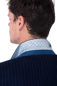 Collar Detail of Seb Pinstripe Double Breasted Suit