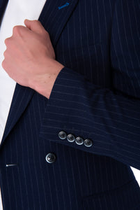 Cuff Detail of Seb Pinstripe Double Breasted Suit