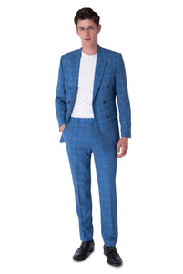 Front of WILLIAM Blue Check Double Breasted Suit