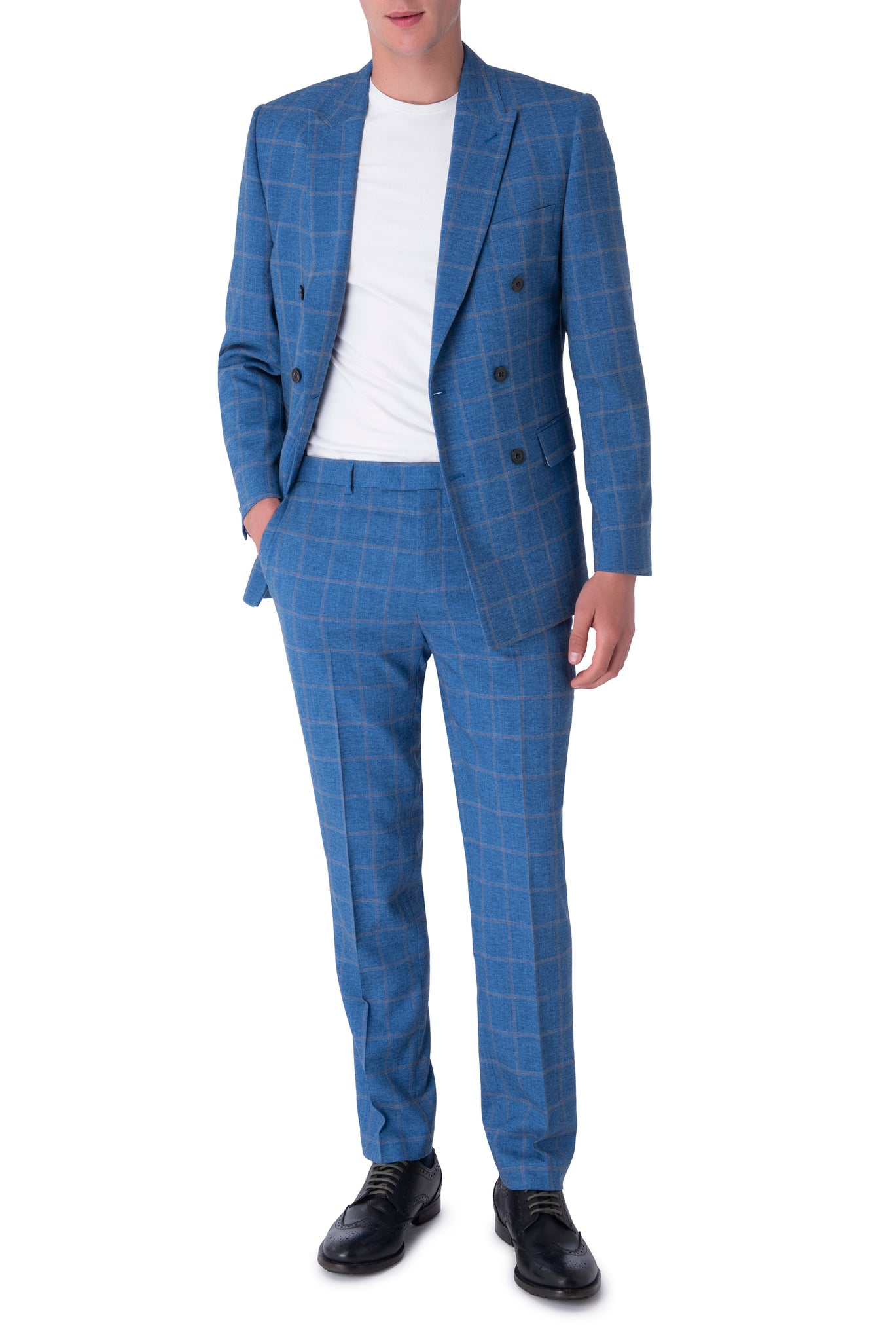 WILLIAM Blue Check Double Breasted Suit