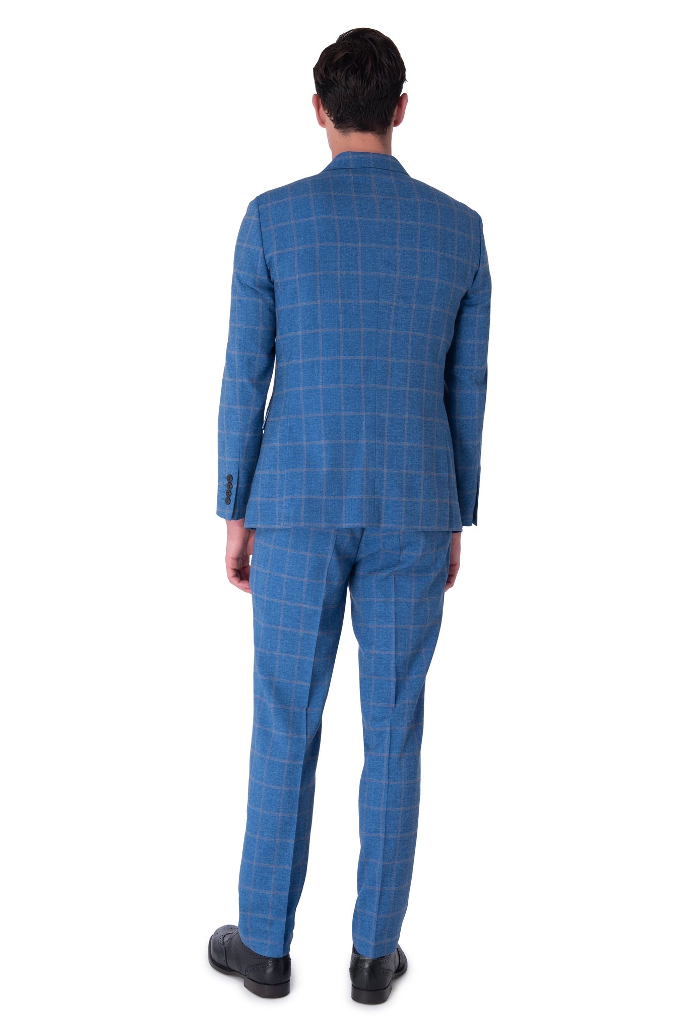 Back of WILLIAM Blue Check Double Breasted Suit