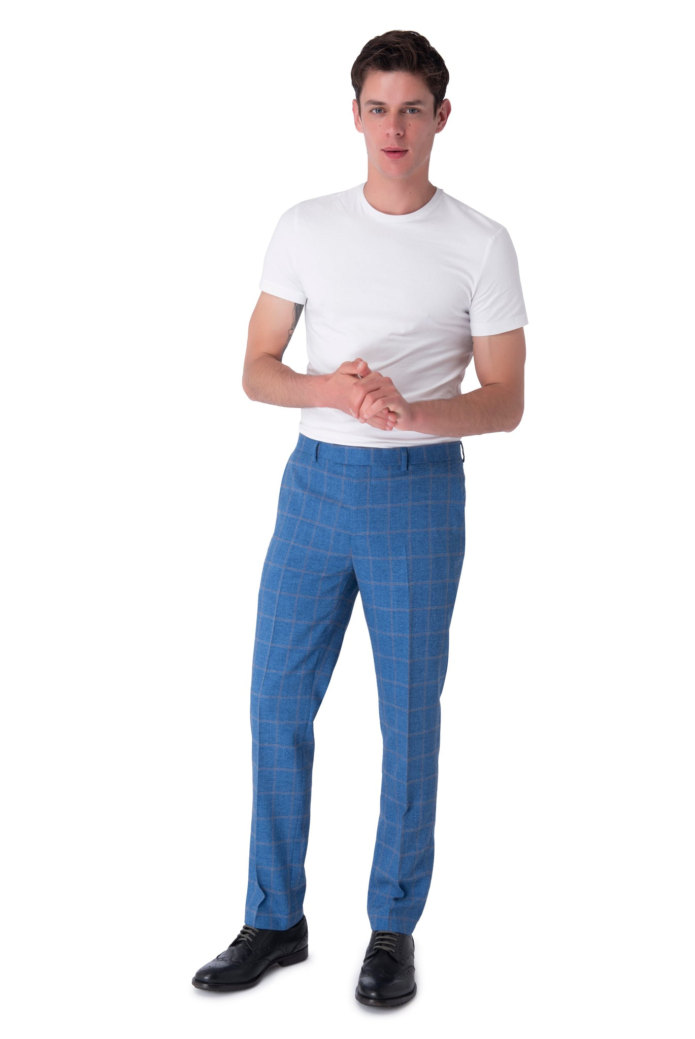 Trousers of WILLIAM Blue Check Double Breasted Suit