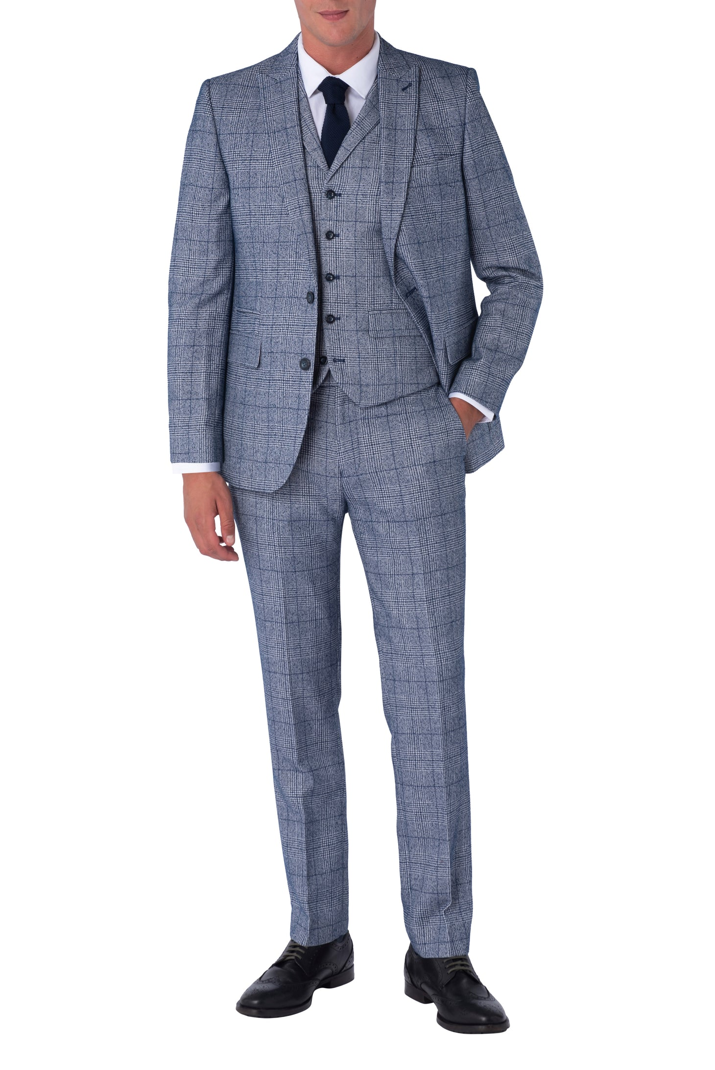 DANIEL Blue & Navy Check Three Piece Slim Fit Suit