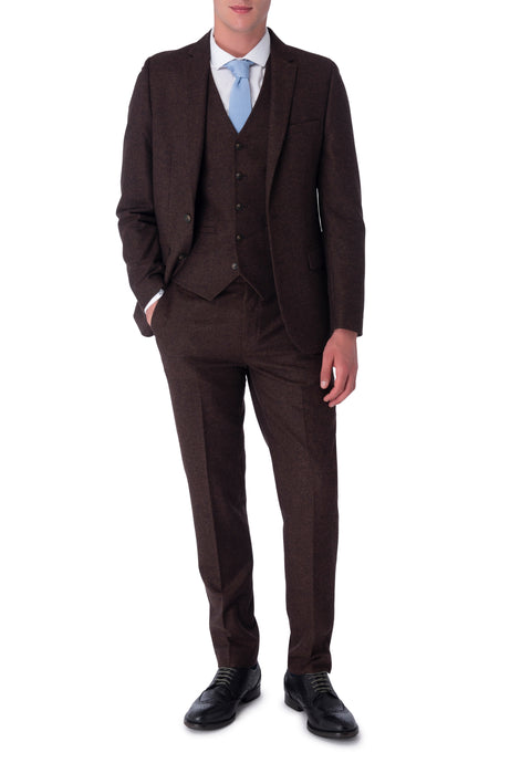 ELIJAH Brown Three Piece Slim Fit Wool Suit