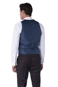 Back of Waistcoat of ELLIOTT Burgundy Check Three Piece Suit