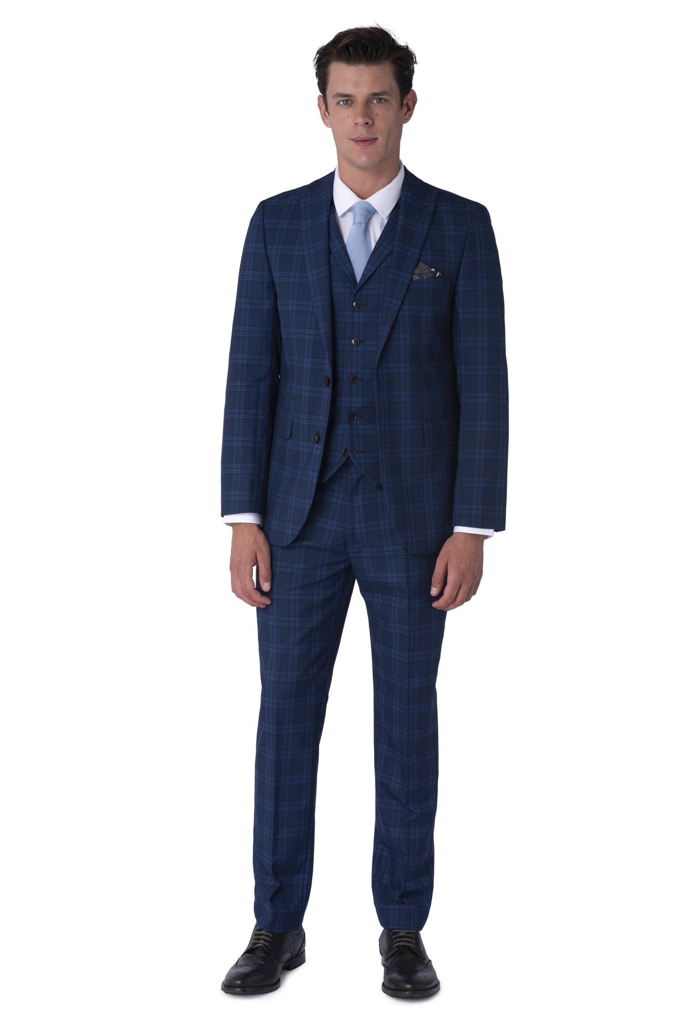 Front of BOBBY Blue & Black Check Three Piece Suit