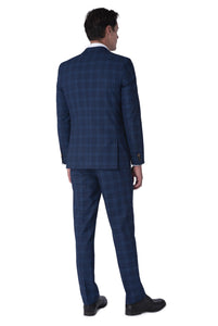 Back of BOBBY Blue & Black Check Three Piece Suit
