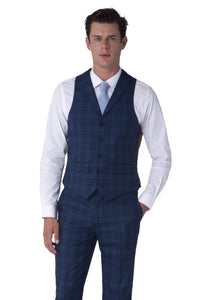 Waistcoat of BOBBY Blue & Black Check Three Piece Suit