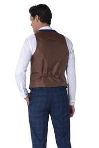 Back of waistcoat of BOBBY Blue & Black Check Three Piece Suit
