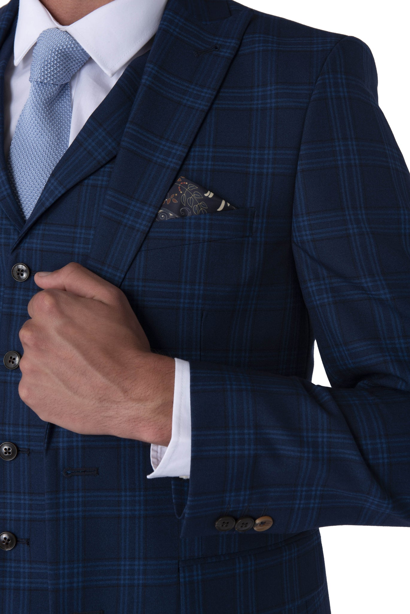 Lapel & cuff of BOBBY Blue & Black Check Three Piece Suit