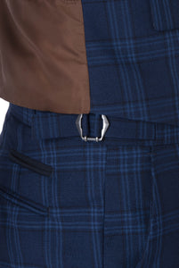 Waistband detail of BOBBY Blue & Black Check Three Piece Suit