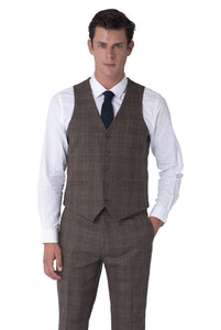 Waistcoat of TYLER Brown Check 100% Wool Suit