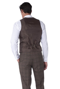 Back of waistcoat of TYLER Brown Check 100% Wool Suit