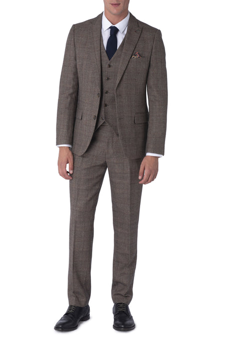 JUDE Brown Check 100% Wool Suit